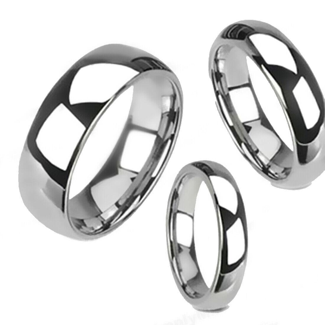 tungsten carbide silver polished wedding band men