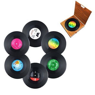 SET OF 6 Boxed Vinyl Records Coasters Place Mats Non-Slip Music Gift Retro