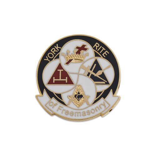 York Rite of Freemasonry Round Masonic Lapel Pin - [Black & White][1