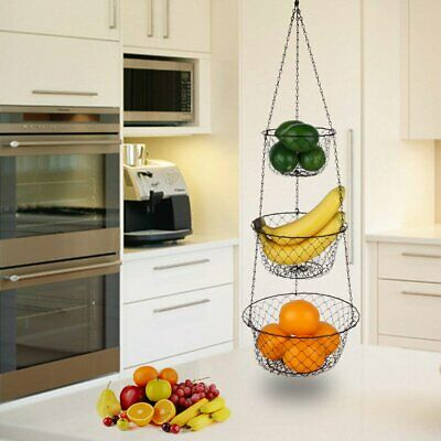 3-Tier Wire Fruit Plant Hanging Basket Vegetable Storage Iron Wire Kitchen USA