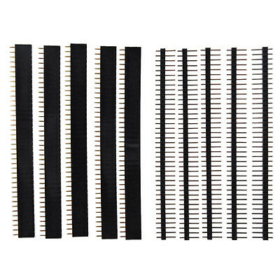 5 Pcs 40 Pin 2.54mm Single Row Straight Male Female Pin Header Strip Dt