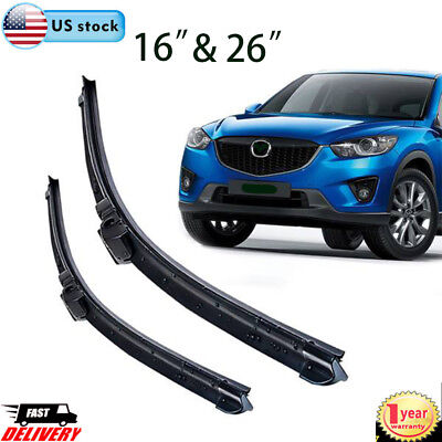 26  16 WIPER BLADES BRACKETLESS IN ALL SEASON PREMIUM OEM WINDSHIELD 2pcsset