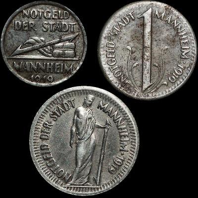 NOTGELD: 5, 10 & 25 Pfennig 1919. Funck 315.1A, 2 & 3. STADT MANNHEIM / BADEN.