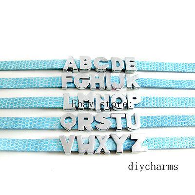 Charms For Bracelets Wholesale (Wholesale 5pcs 8mm/10mm Plain Slide Letters Charms DIY For Name Collar)