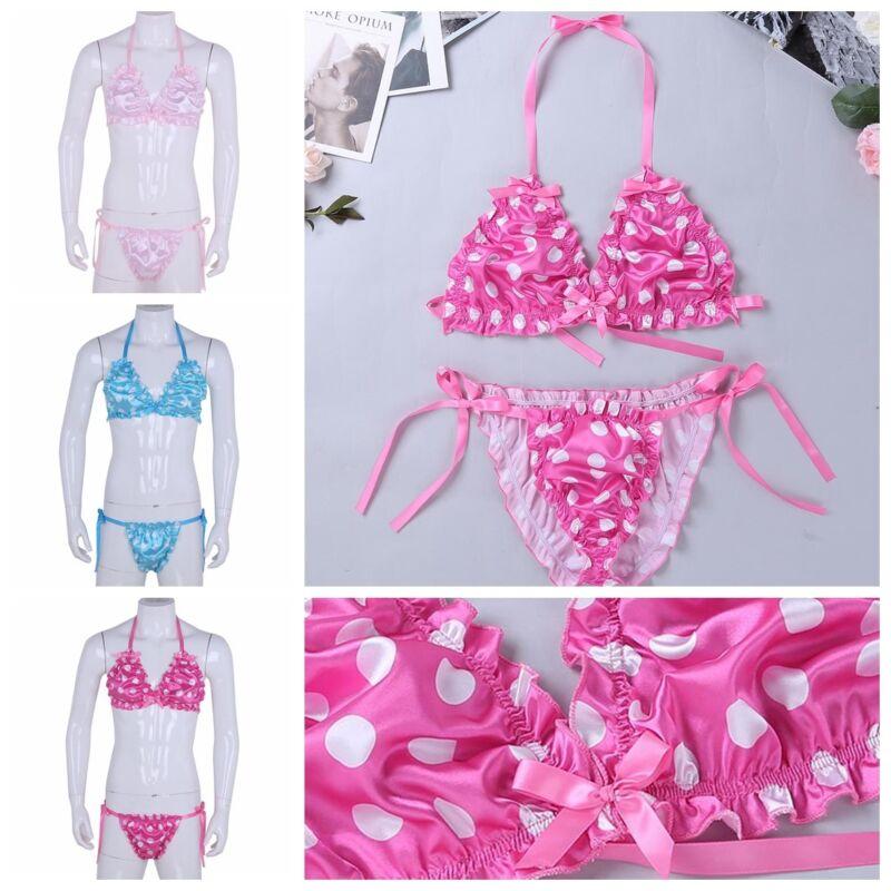 6ac09fe63f MenS Soft SATIN Halter Bra Top Silky Polka Dots Sissy Bikini Briefs  UnderwearUSD 2.95