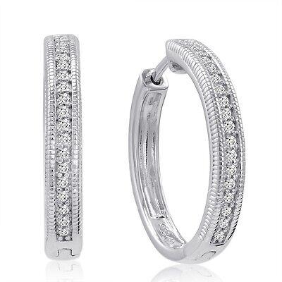 1/4ct Natural ( REAL) Diamond Hoop Earrings Set in .925 Sterling Silver