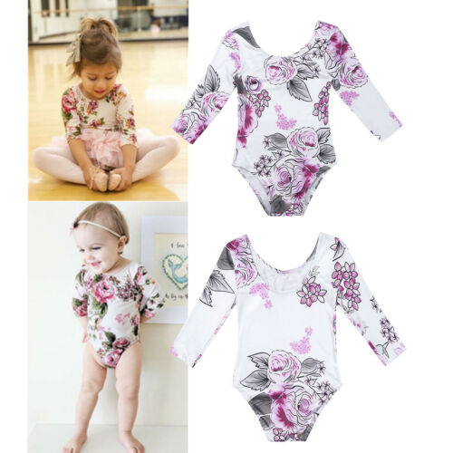 Infant Baby Girls Ruffle Long Sleeve Floral Print Bodysuit Romper+Hat Outfits
