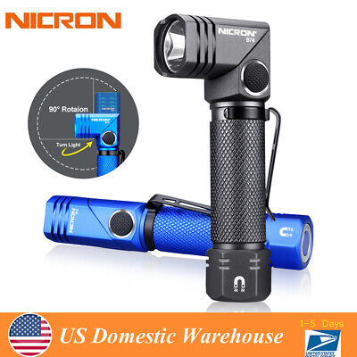 Nicron 600LM Twist 90° Magnetic Inspection LED Tactical Flashlight Torch 14500