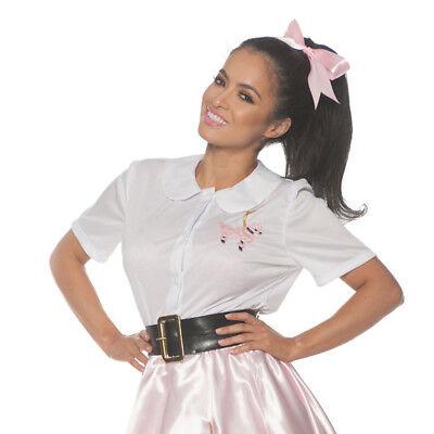 Weiß 50's Pudel Hemd Kostüm Top Socke Hop Style Tanz Bluse Damen Erwachsene