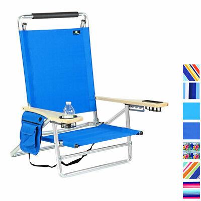Deluxe 5 Position Lay Flat Aluminum Beach Chair, Cup Holder 250 lb Load Capacity Layflat Beach Chair