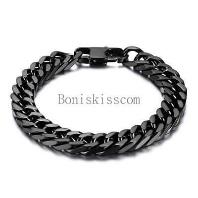 - Durable Black Stainless Steel 10mm Heavy Wide Mens Curb Link Chain Bracelet 8