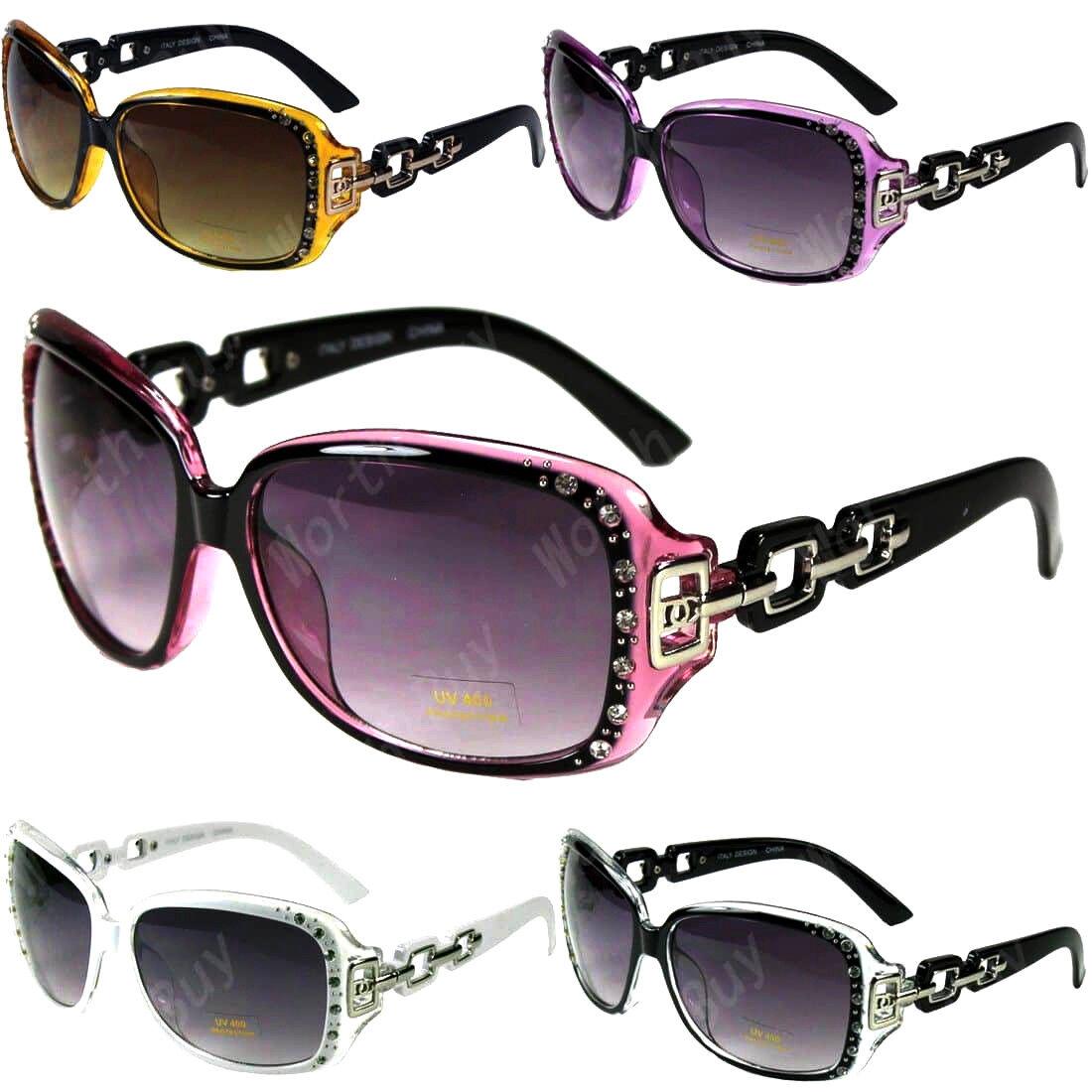 New DG Eyewear Womens Rhinestones Square Wrap Sunglasses Des