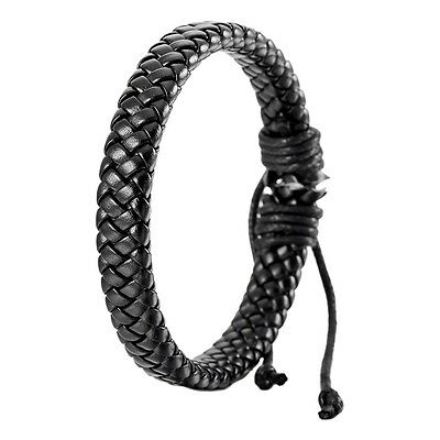 Leather Bracelet Bangle Cuff Rope Black Surfer Wrap Adjustable Men,Women
