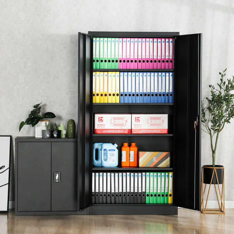 "Lockable Heavy Duty 72""H Tool File Storage Metal Cabinet 4 Adjustable Shelves"