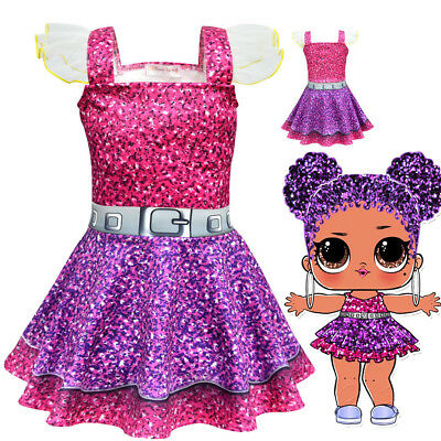Neu Baby Kinder Mädchen Ärmellos LOL Surprise Doll Kostüm Party Prinzessin - Baby Doll Kleid Kostüm