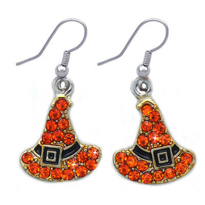 Orange Witch Wizard Hat Dangle Hook Earrings Halloween Party Costume Jewelry  (Orange Witch Costume)