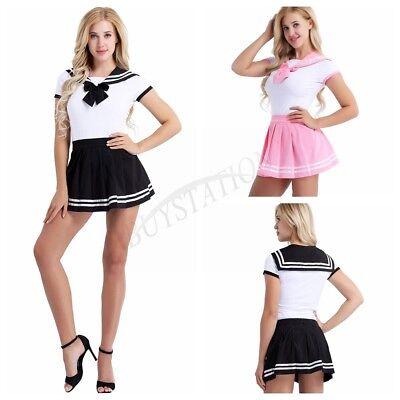 New Girls Sailor Suit Japanese School Women Fancy Uniform Romper Pleated - Sailor Suit