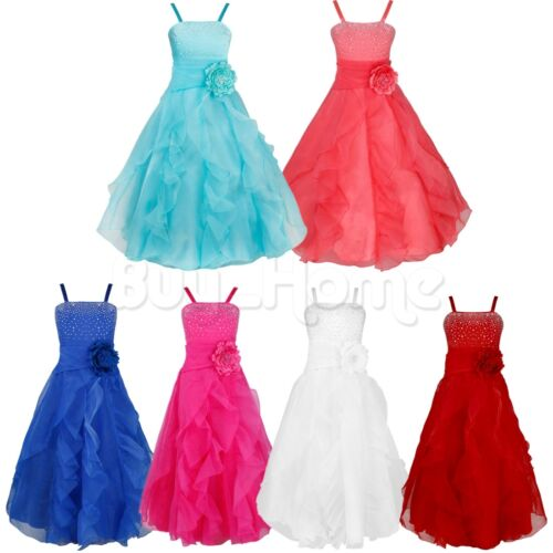 Kids Girls Party Flower Formal Wedding Bridesmaid Pageant Prom Christening Dress