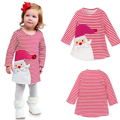 Infant Toddler Kids Girls Santa Striped Princess Dress Christmas Outfits Clothes