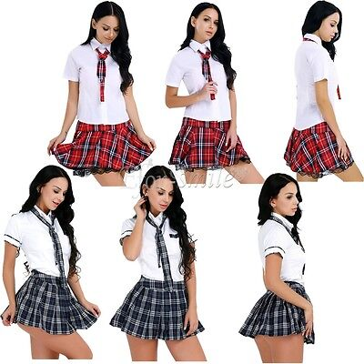 Girls Halloween Fancy Dress (US _ Womens School Girl Uniform Fancy Dress Lingerie Cosplay Costume)