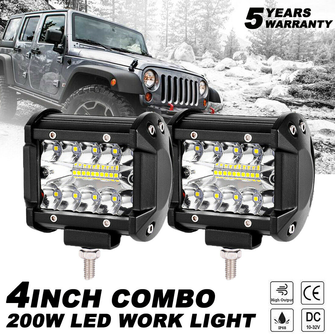 как выглядит 2X 4 Inch 200W LED Work Light Bar Pods Flush Mount Combo Driving 12V Lamps фото