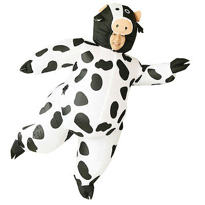 Adult Inflatable Cow Mascot Costume Air Blowup Fancy Dress Halloween Outfit Suit - Inflatable Cow Suit