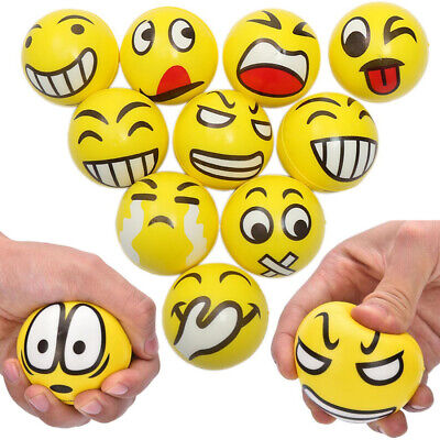 12 Pack of Emoji Smiley Face Stress Balls - Yellow 2.4 Inch Assorted Squeezable (Ball Emoji)