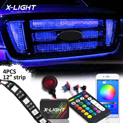 Bluetooth Grille LED Exterior Multicolor Strip Light Kit for Car Waterproof 4pcs