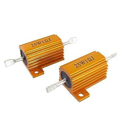 1pcs Gold Tone 25w 1 Ohm Tolerance 5 Aluminum Clad Wire Wound Resistors