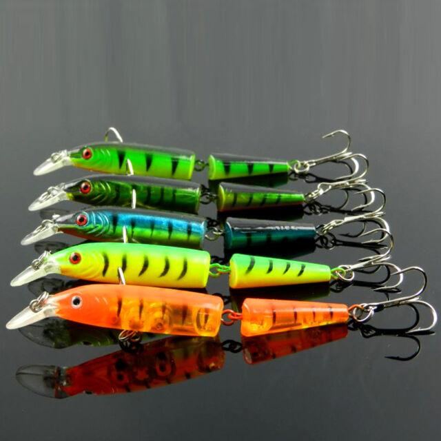1 Pcs Noctilucent 2-Joint Plastic Minnow Fishing Lure Crank Bait Tackle Hook