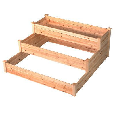 Outdoor Patio Wooden 3 Tier Raised Garden Bed Elevated Planter Box Nature Color (Wooden Box Planters)