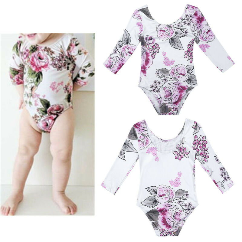 Baby Girl Floral Bodysuit Skirt Colorful Ice Cream Print Romper Dress Outfit