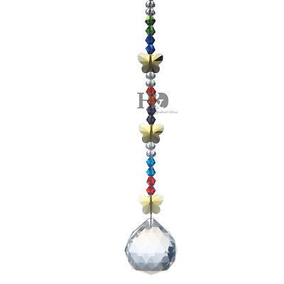 Crystal Suncatcher Ball Prism Pendant Butterfly Feng ...