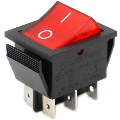 Soken Boat Rocker Switch Dpdt Onoff 16a 125v 6 Pin Red Light Ul Vde Tv Listed