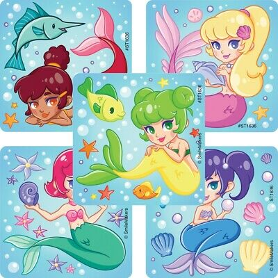 20 Mermaid STICKERS Party Favors Supplies for Birthday Treat Loot Bags - Mermaids Party Supplies