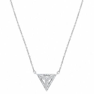 Diamond Triangle Necklace - Art Deco Diamond Triangle Pendant Necklace 18