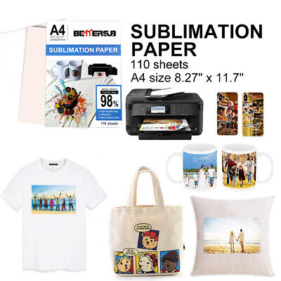 110sheets A4 Dye Sublimation Heat Transfer Paper For Polyester Cotton T-shirt Us