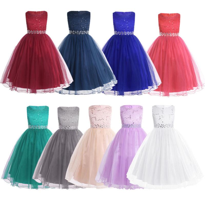 US Flower Girl Dress Kids Party Dress Wedding Bridesmaid Hol