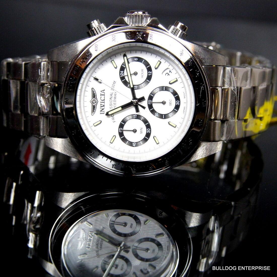 $99.99 - Mens Invicta Speedway Daytona Stainless Steel White Chronograph 200m Watch New