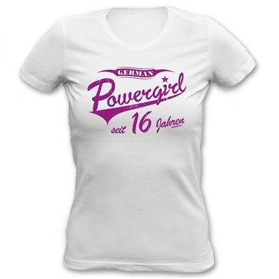 Mädchen Shirt Geburtstag (Mädchen T-Shirt - German Powergirl 16 Jahre - lustiges Geschenk 16. Geburtstag)