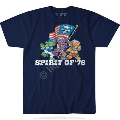 GRATEFUL DEAD-SPIRIT OF '76-BEAR-Wave The Flag-BLUE TSHIRT M, XL, 2X, 6X Limited - The Grateful Dead Bears