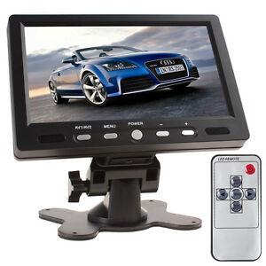 7 Inch TFT LCD Screen HDMI VGA Car Rear View Monitor + Adpater + Remote Control
