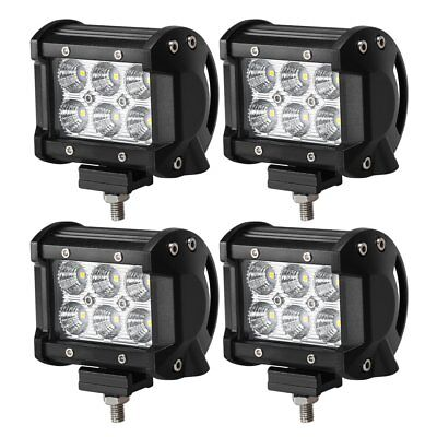 4x 4inch 18W Cree Flood Led Work Light Fog Reverse Cube Pods Offroad SUV ATV UTE