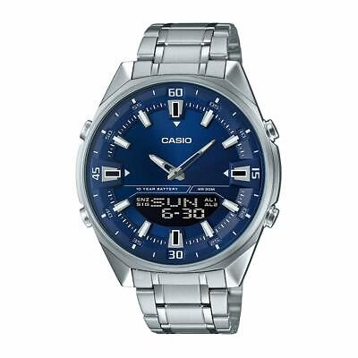 Casio AMW830D-2AV Men's Stainless Steel Blue Dial Ana-Digi Telememo 30 Watch