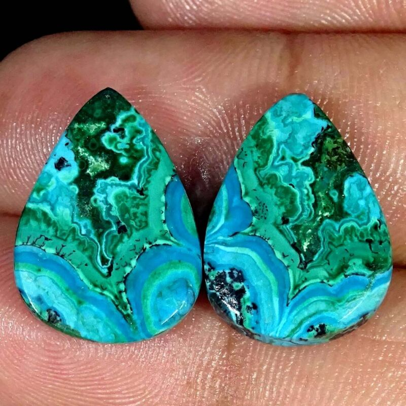 20.10Cts Natural Malachite Chrysocolla Pair Pear Cabochon Loose Gemstone