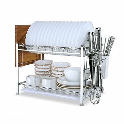 YOMYM 304 Stainless Steel 2 tier Kitchen Organizer and Storage with Drying Rack
