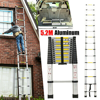 5.2M Multi-Purpose Aluminium Telescopic Step Ladder Climb Extendable Heavy Duty