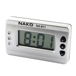 Car Home Silver Tone Digital LCD Desk Wall Clock