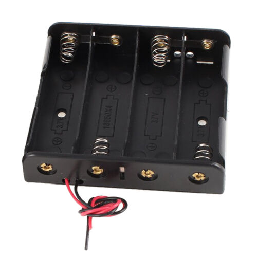 2 Pcs Black Plastic Battery Holder Case w Wire for 4 x 18650 14.8V LW V