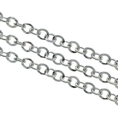 3 Meter Gliederkette Link Kette Metallkette Rund 5mm Silber Chain Halsketten K13